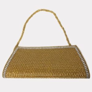 VTG Gold Beaded Hand Held Clutch Purse Cocktail